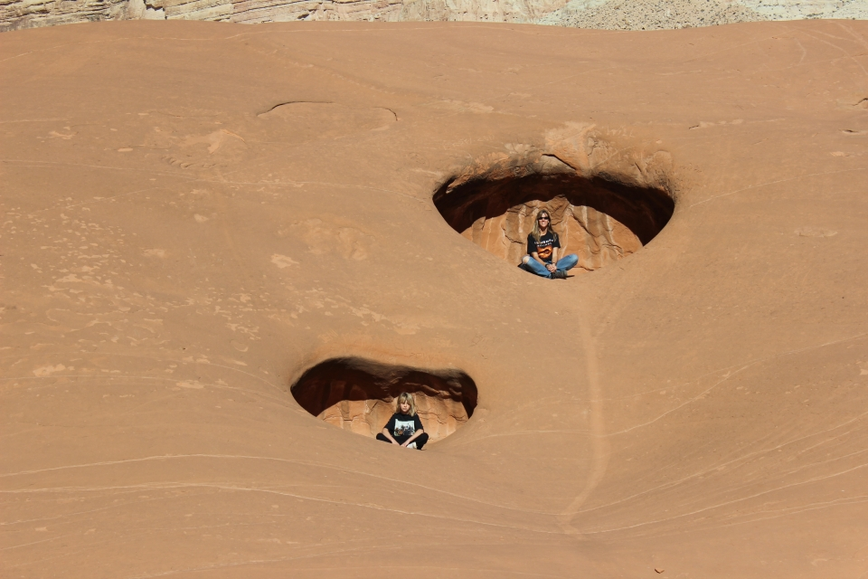 Two children play at Glen Canyon
