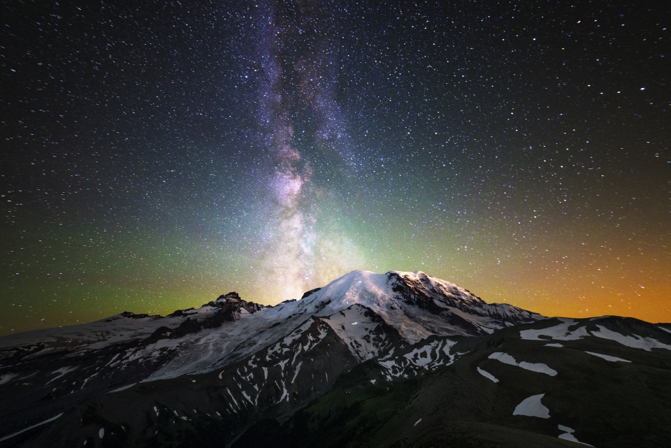 The night sky over Mount Rainier