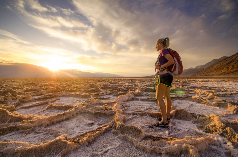 Third place photo winner, Sarah Gustafon hiking in Death Valley National Park